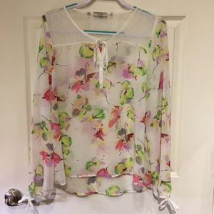 Guess Large Sheer Boho Peasant Top Floral